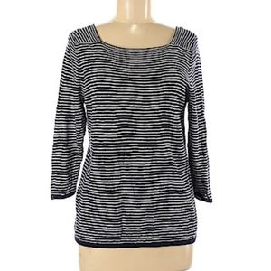 Eileen Fisher Navy Striped Sweater Top